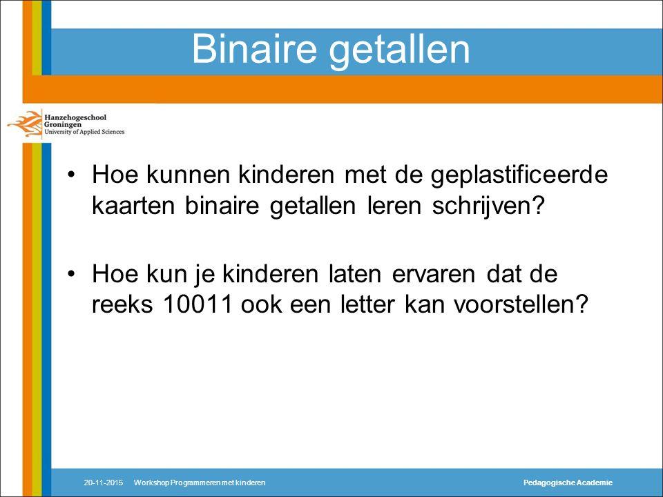 Binaire getallen Hoe kunnen kinderen met de geplastificeerde kaarten binaire getallen leren schrijven.