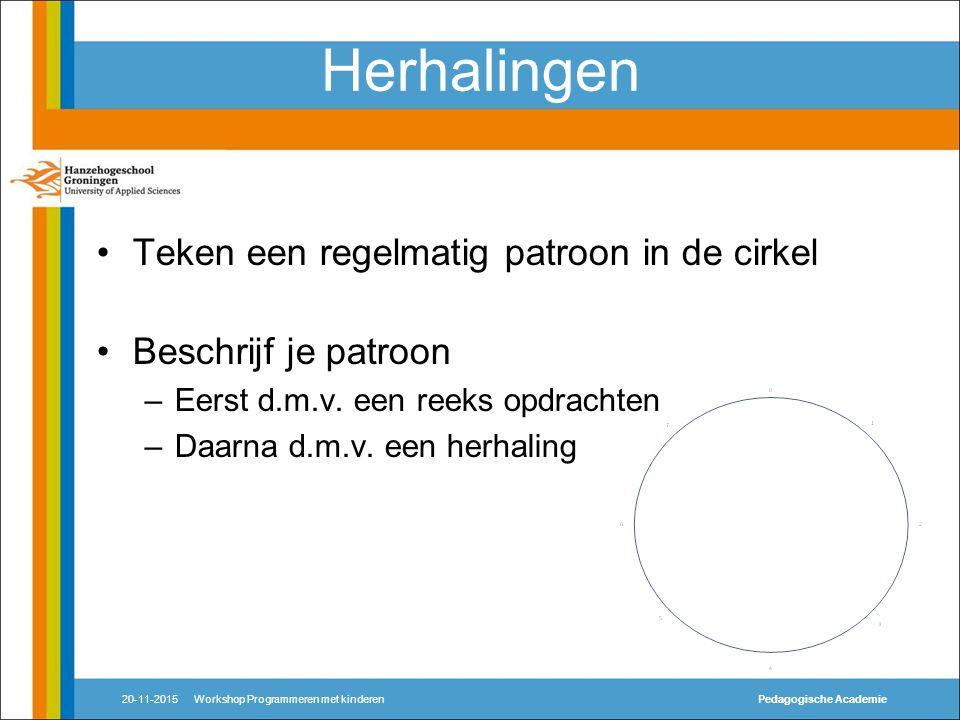 Herhalingen Teken een regelmatig patroon in de cirkel Beschrijf je patroon –Eerst d.m.v.