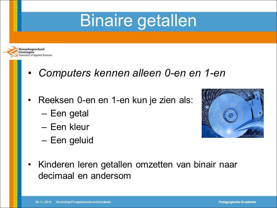 Binaire getallen Computers kennen alleen 0-en en 1-en Reeksen 0-en en 1-en kun je zien als: –Een getal –Een kleur –Een geluid Kinderen leren getallen omzetten van binair naar decimaal en andersom 20-11-2015Workshop Programmeren met kinderenPedagogische Academie