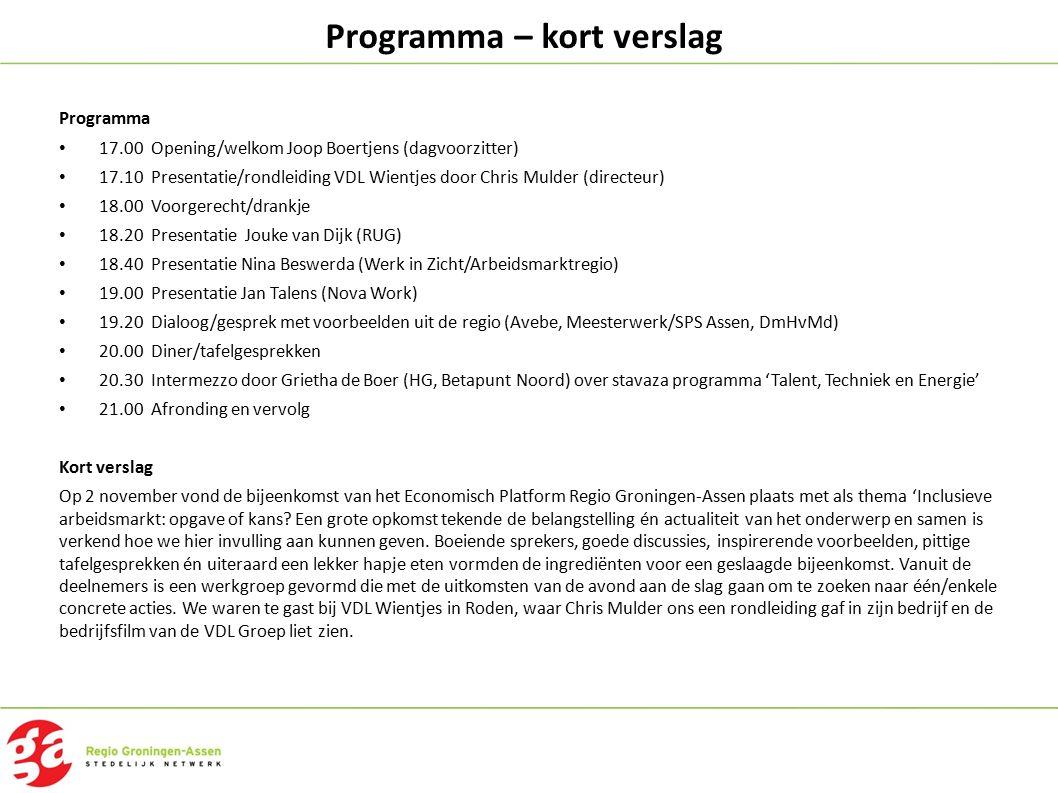 Programma – kort verslag Programma 17.00 Opening/welkom Joop Boertjens (dagvoorzitter) 17.10 Presentatie/rondleiding VDL Wientjes door Chris Mulder (d