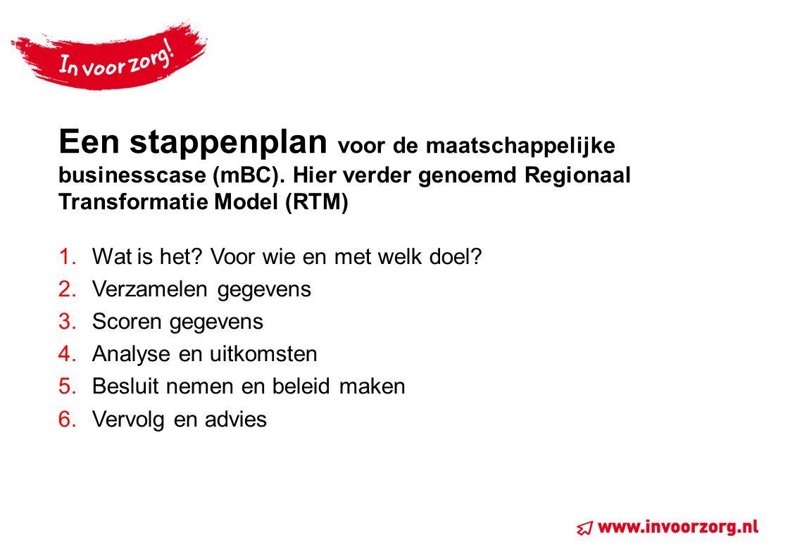 Een stappenplan voor de maatschappelijke businesscase (mBC). Hier verder genoemd Regionaal Transformatie Model (RTM) 1.Wat is het? Voor wie en met wel