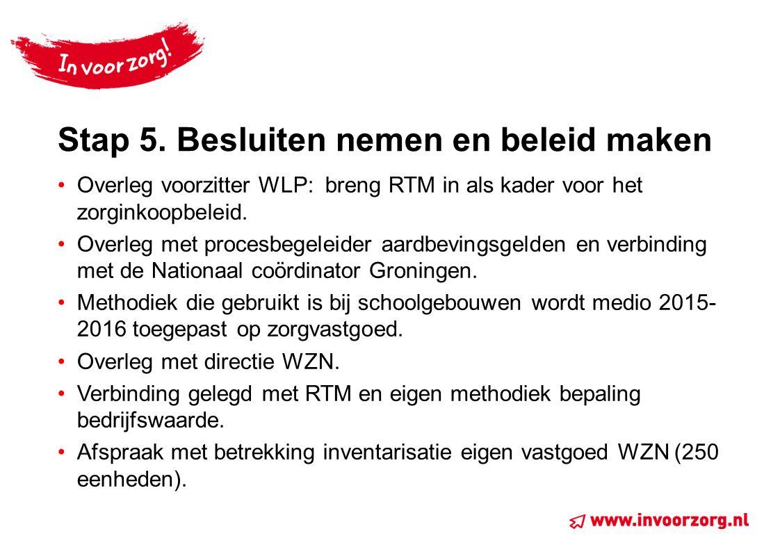 Stap 5. Besluiten nemen en beleid maken Overleg voorzitter WLP: breng RTM in als kader voor het zorginkoopbeleid. Overleg met procesbegeleider aardbev