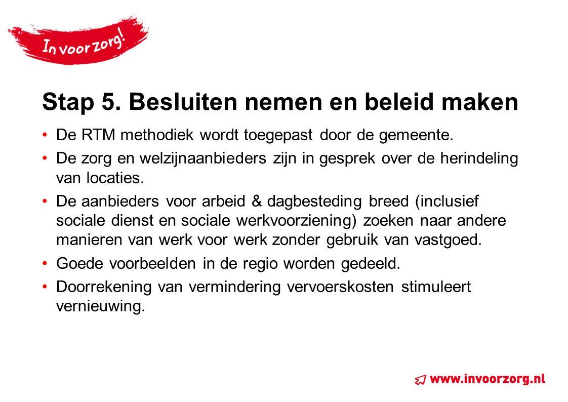 Stap 5. Besluiten nemen en beleid maken De RTM methodiek wordt toegepast door de gemeente. De zorg en welzijnaanbieders zijn in gesprek over de herind