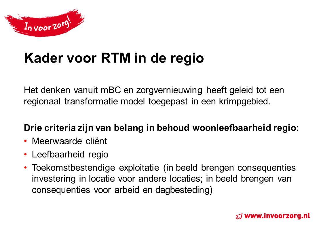 Kader voor RTM in de regio Het denken vanuit mBC en zorgvernieuwing heeft geleid tot een regionaal transformatie model toegepast in een krimpgebied. D