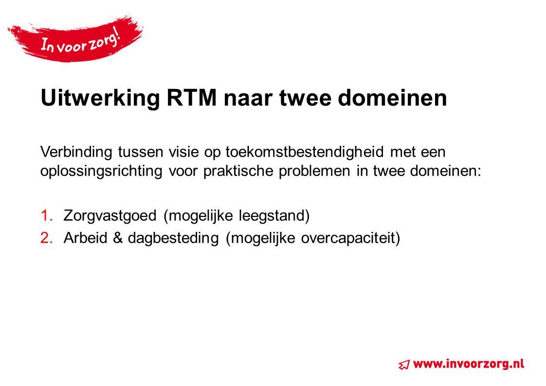 Uitwerking RTM naar twee domeinen Verbinding tussen visie op toekomstbestendigheid met een oplossingsrichting voor praktische problemen in twee domeinen: 1.Zorgvastgoed (mogelijke leegstand) 2.Arbeid & dagbesteding (mogelijke overcapaciteit)