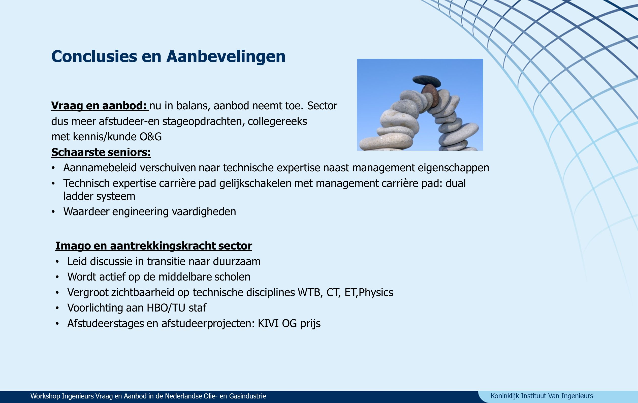 Koninklijk Instituut Van Ingenieurs Conclusies en Aanbevelingen Vraag en aanbod: nu in balans, aanbod neemt toe.