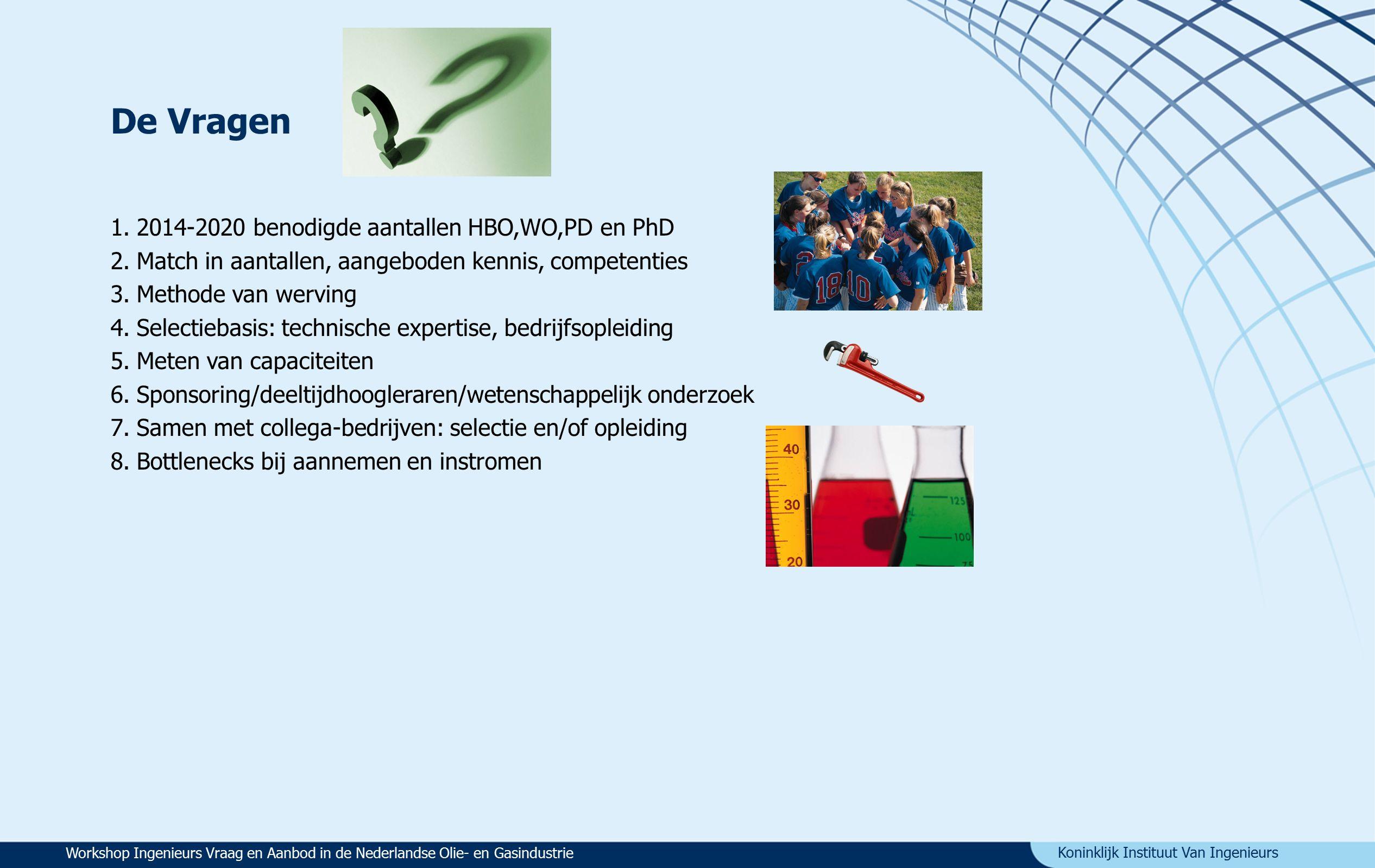 Koninklijk Instituut Van Ingenieurs De Vragen 1.2014-2020 benodigde aantallen HBO,WO,PD en PhD 2.Match in aantallen, aangeboden kennis, competenties 3.Methode van werving 4.Selectiebasis: technische expertise, bedrijfsopleiding 5.Meten van capaciteiten 6.Sponsoring/deeltijdhoogleraren/wetenschappelijk onderzoek 7.Samen met collega-bedrijven: selectie en/of opleiding 8.Bottlenecks bij aannemen en instromen Workshop Ingenieurs Vraag en Aanbod in de Nederlandse Olie- en Gasindustrie
