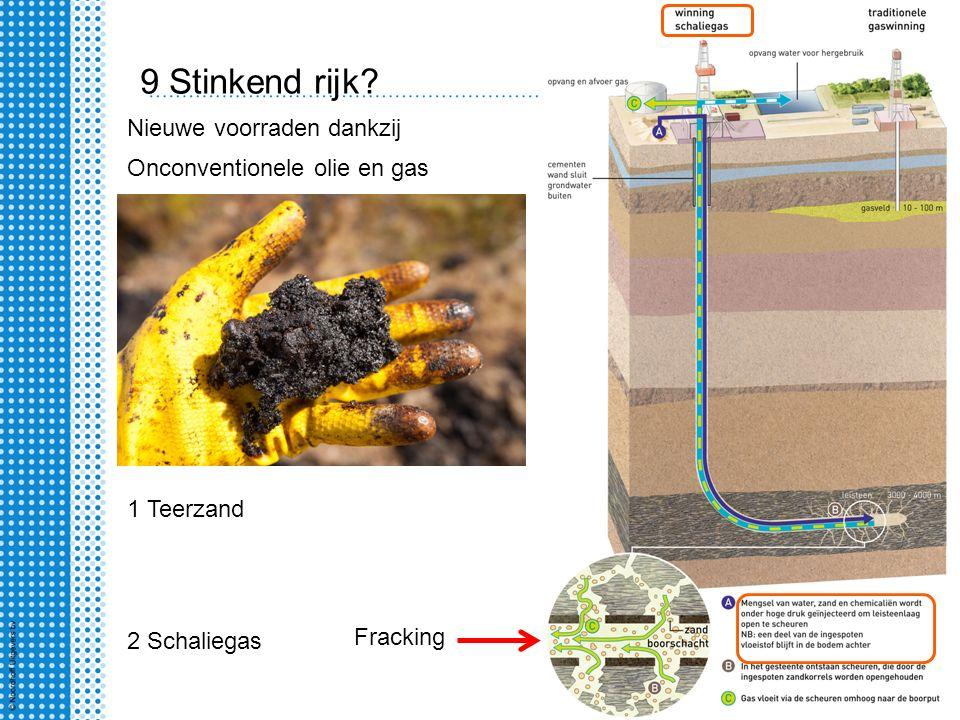 9 Stinkend rijk? Onconventionele olie en gas Nieuwe voorraden dankzij 1 Teerzand 2 Schaliegas Fracking