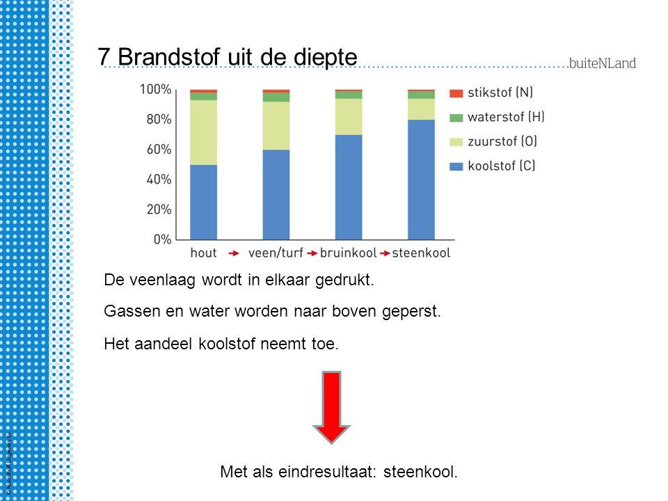7 Brandstof uit de diepte Het aandeel koolstof neemt toe. Gassen en water worden naar boven geperst. De veenlaag wordt in elkaar gedrukt. Met als eind