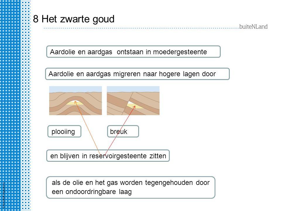 8 Het zwarte goud Aardolie en aardgas ontstaan in moedergesteente Aardolie en aardgas migreren naar hogere lagen door plooiingbreuk en blijven in rese
