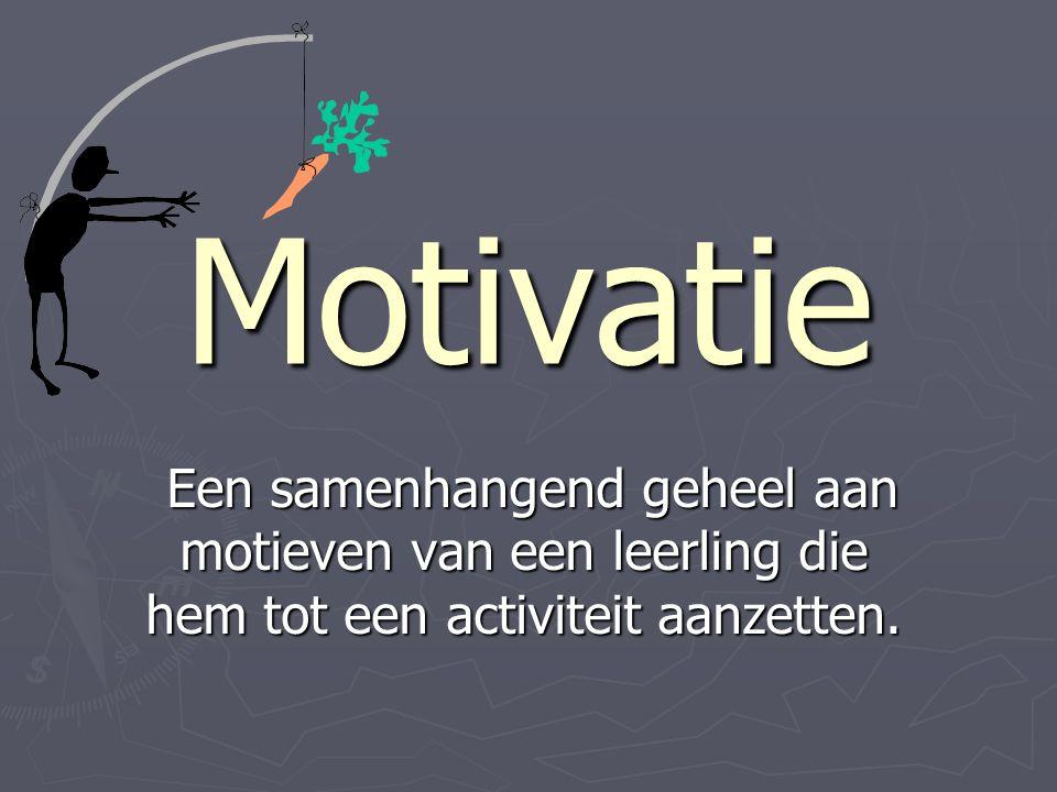 Motivatie Een samenhangend geheel aan motieven van een leerling die hem tot een activiteit aanzetten.