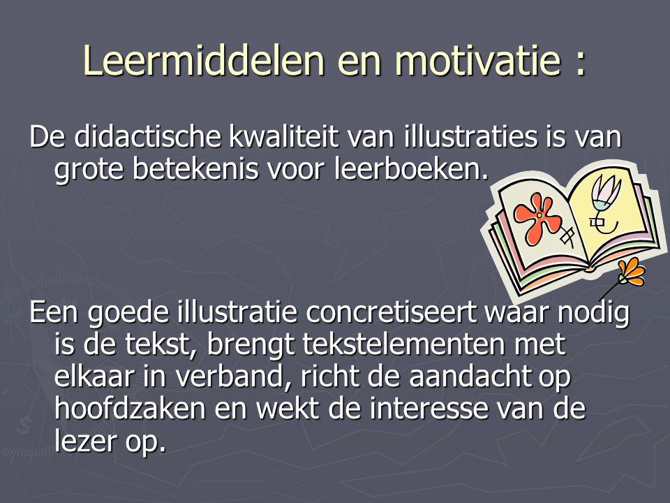 Leermiddelen en motivatie : De didactische kwaliteit van illustraties is van grote betekenis voor leerboeken.