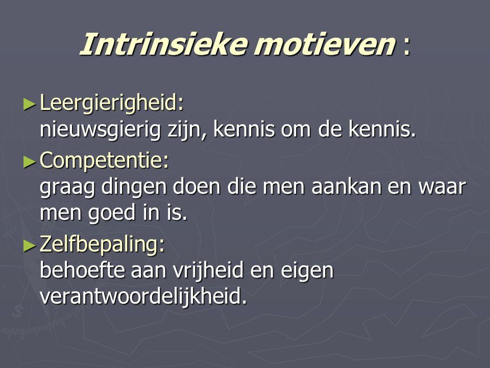 Intrinsieke motieven : ► Leergierigheid: nieuwsgierig zijn, kennis om de kennis.