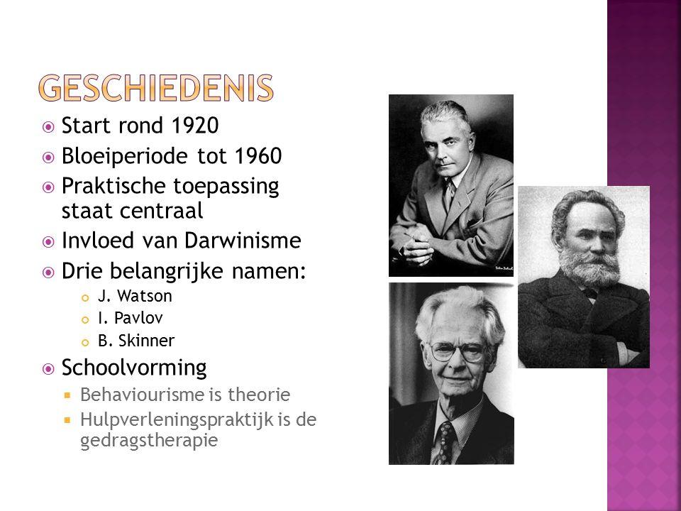  Start rond 1920  Bloeiperiode tot 1960  Praktische toepassing staat centraal  Invloed van Darwinisme  Drie belangrijke namen: J. Watson I. Pavlo