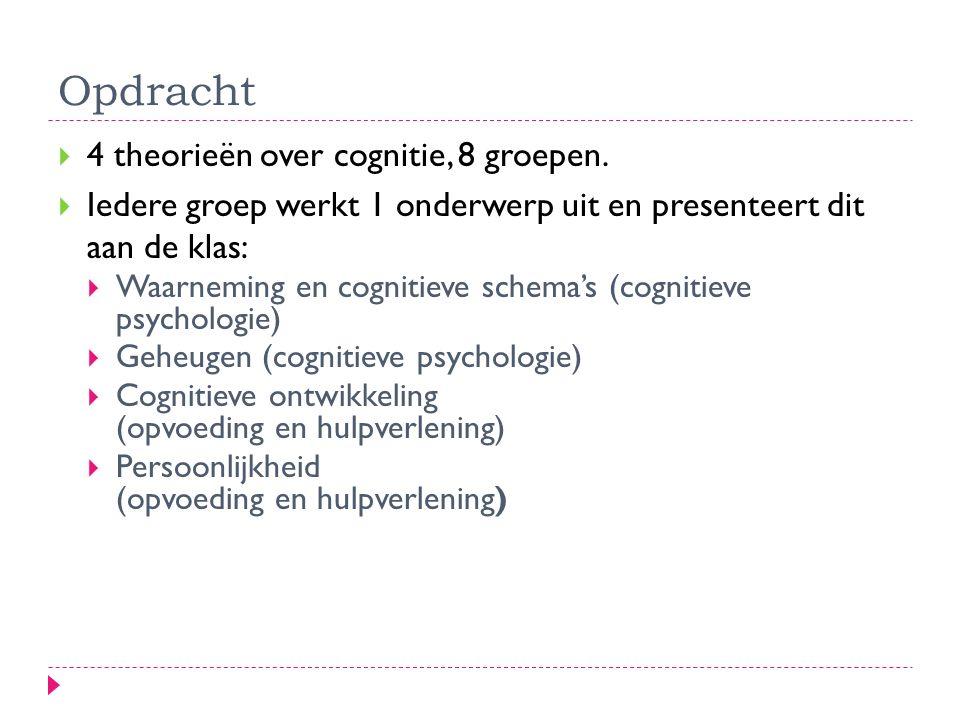Opdracht  4 theorieën over cognitie, 8 groepen.  Iedere groep werkt 1 onderwerp uit en presenteert dit aan de klas:  Waarneming en cognitieve schem
