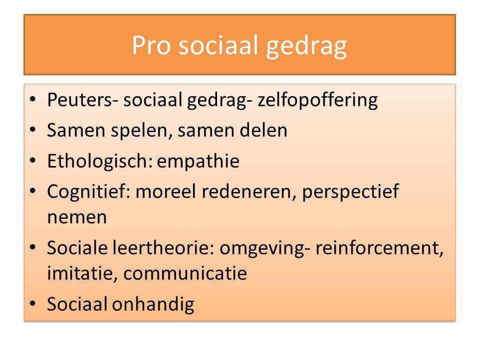 Pro sociaal gedrag Peuters- sociaal gedrag- zelfopoffering Samen spelen, samen delen Ethologisch: empathie Cognitief: moreel redeneren, perspectief ne