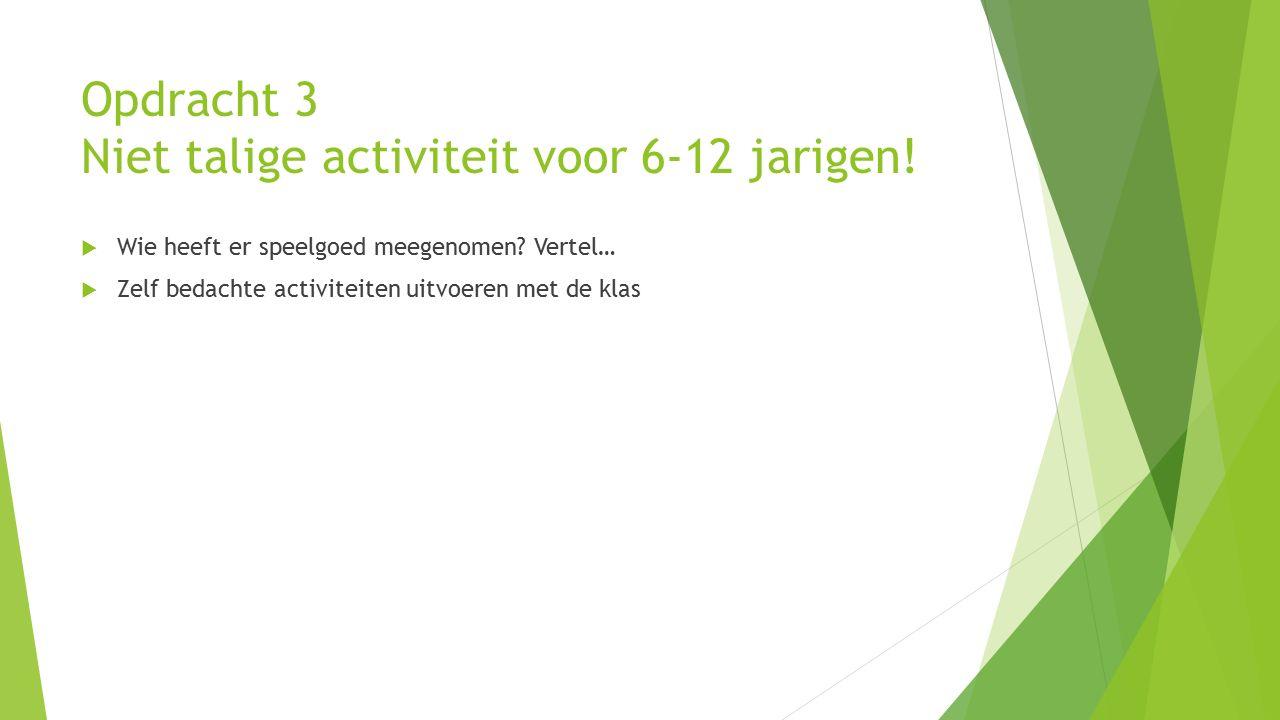 Opdracht 3 Niet talige activiteit voor 6-12 jarigen.