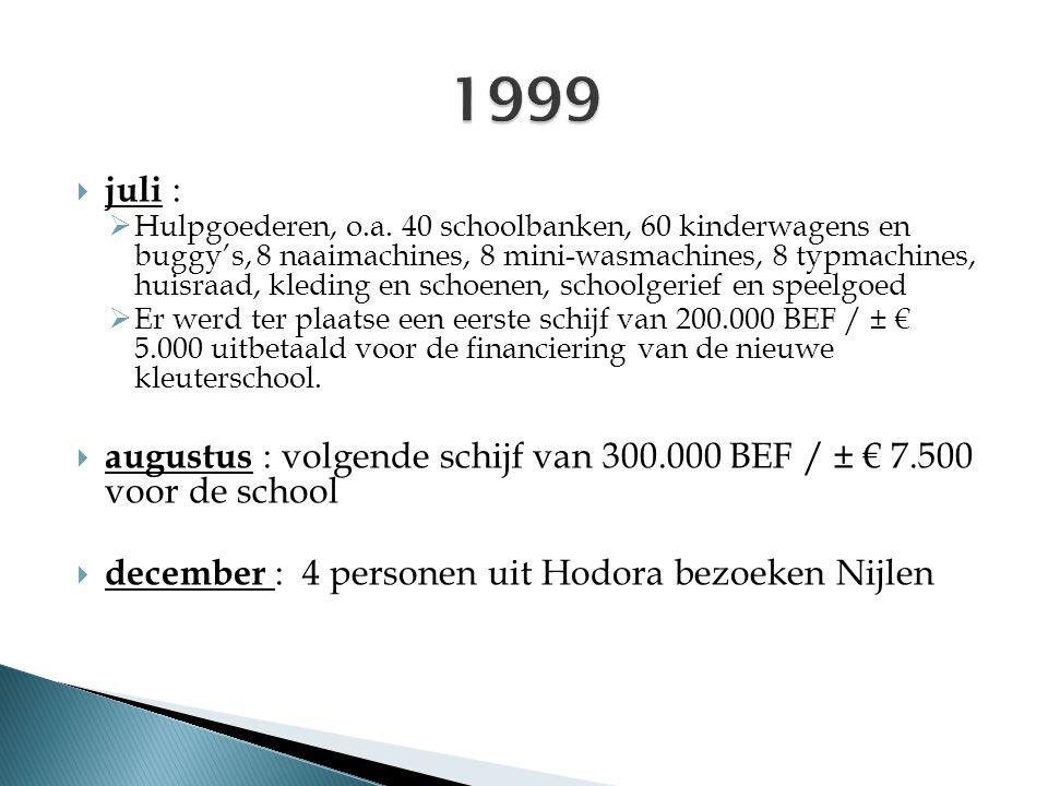  juli :  Hulpgoederen, o.a. 40 schoolbanken, 60 kinderwagens en buggy's, 8 naaimachines, 8 mini-wasmachines, 8 typmachines, huisraad, kleding en sch