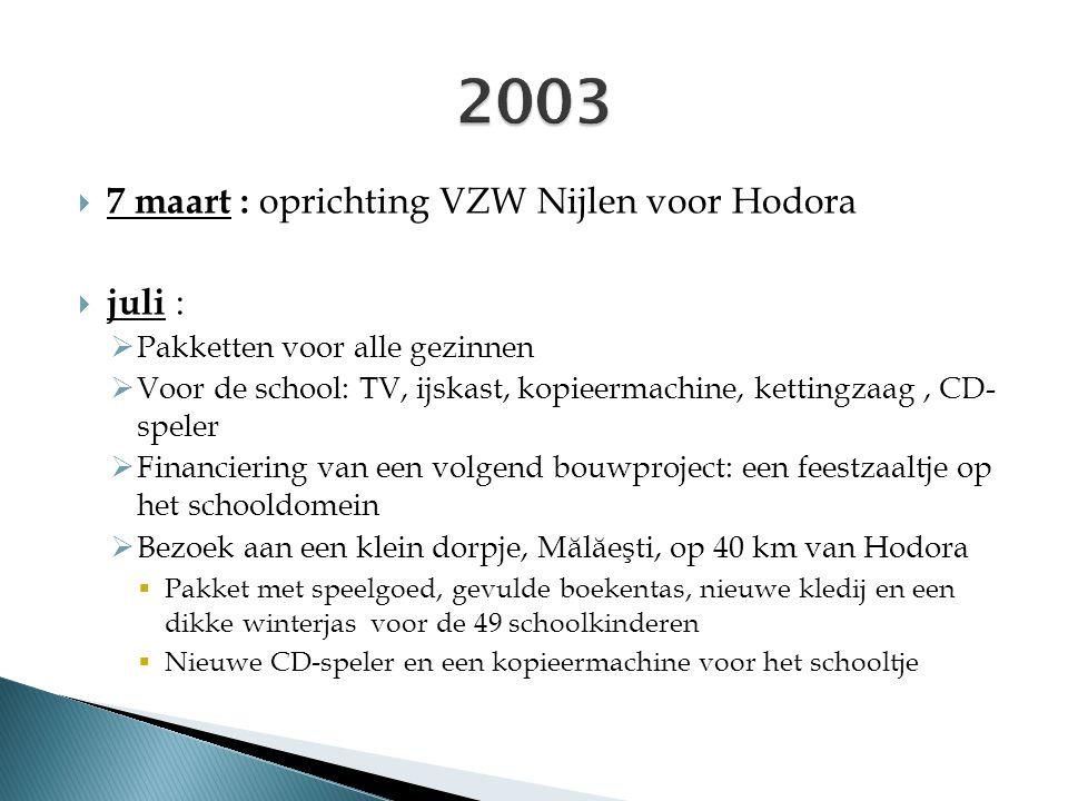  7 maart : oprichting VZW Nijlen voor Hodora  juli :  Pakketten voor alle gezinnen  Voor de school: TV, ijskast, kopieermachine, kettingzaag, CD-