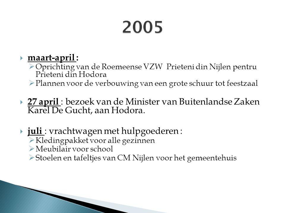  maart-april :  Oprichting van de Roemeense VZW Prieteni din Nijlen pentru Prieteni din Hodora  Plannen voor de verbouwing van een grote schuur tot feestzaal  27 april : bezoek van de Minister van Buitenlandse Zaken Karel De Gucht, aan Hodora.