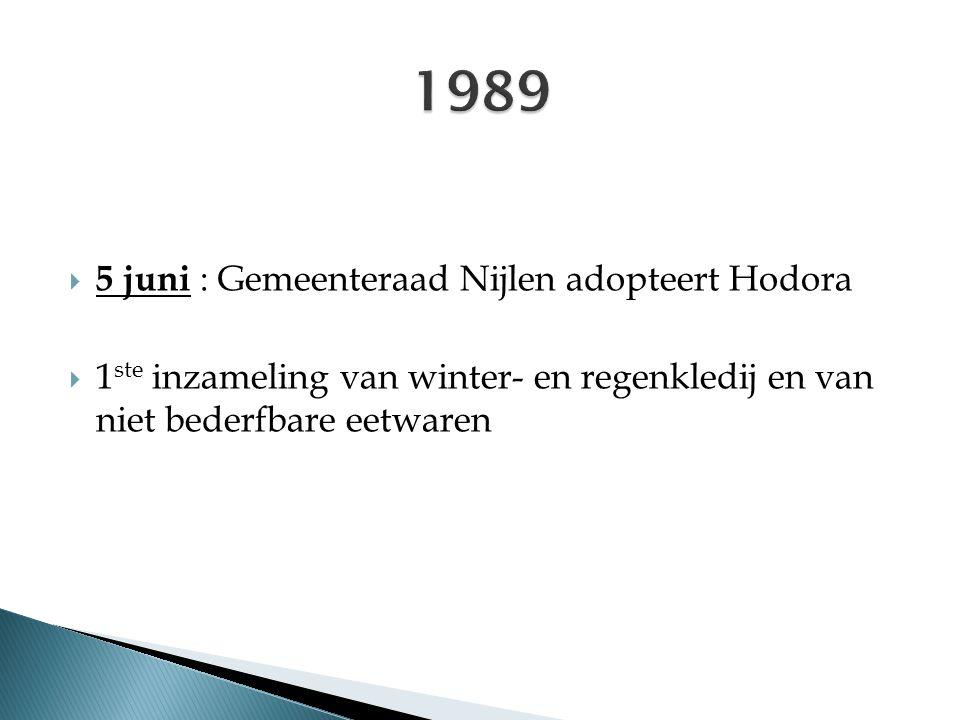  5 juni : Gemeenteraad Nijlen adopteert Hodora  1 ste inzameling van winter- en regenkledij en van niet bederfbare eetwaren