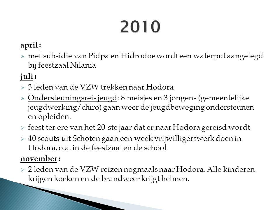 april :  met subsidie van Pidpa en Hidrodoe wordt een waterput aangelegd bij feestzaal Nilania juli :  3 leden van de VZW trekken naar Hodora  Onde