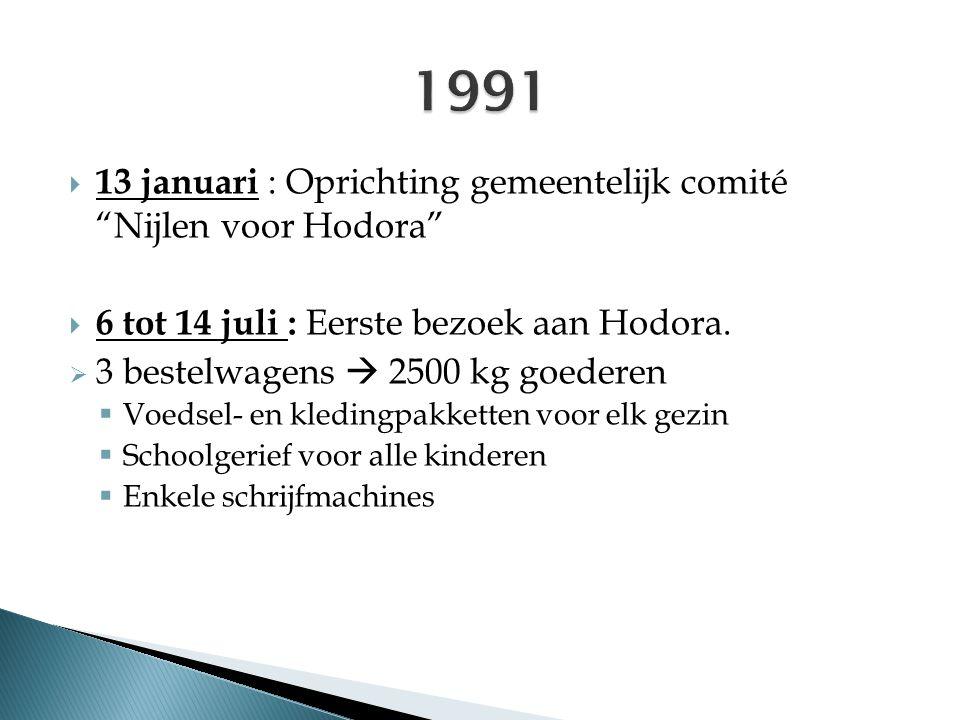 """ 13 januari : Oprichting gemeentelijk comité """"Nijlen voor Hodora""""  6 tot 14 juli : Eerste bezoek aan Hodora.  3 bestelwagens  2500 kg goederen  V"""