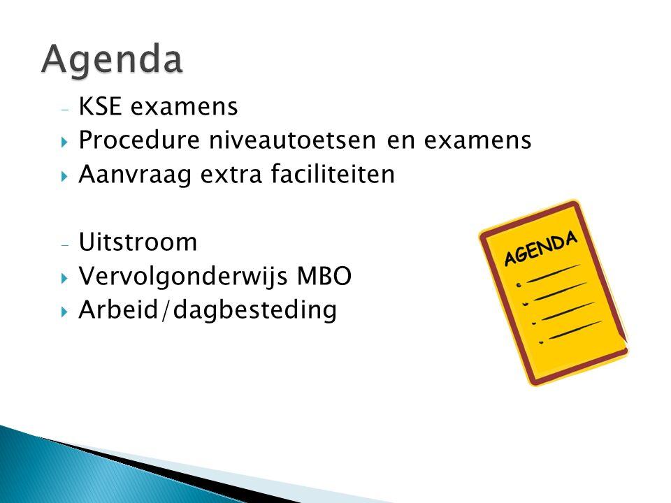 - KSE examens  Procedure niveautoetsen en examens  Aanvraag extra faciliteiten - Uitstroom  Vervolgonderwijs MBO  Arbeid/dagbesteding