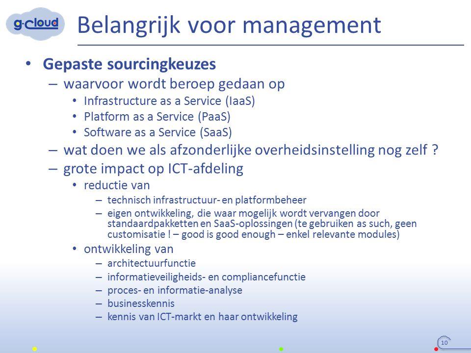 Belangrijk voor management 10 Gepaste sourcingkeuzes – waarvoor wordt beroep gedaan op Infrastructure as a Service (IaaS) Platform as a Service (PaaS)