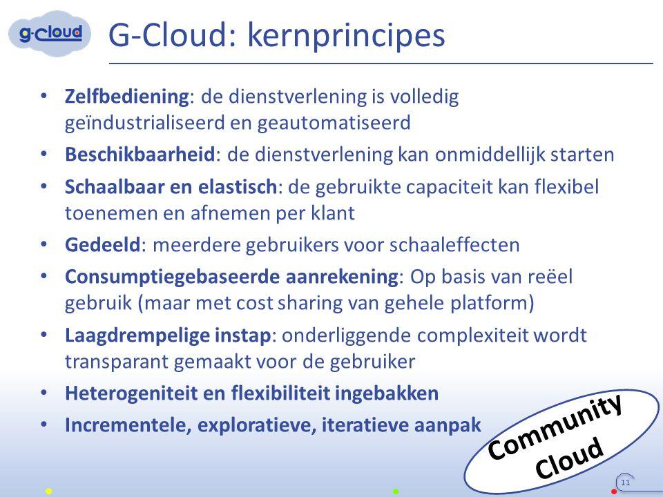 G-Cloud: kernprincipes Zelfbediening: de dienstverlening is volledig geïndustrialiseerd en geautomatiseerd Beschikbaarheid: de dienstverlening kan onm