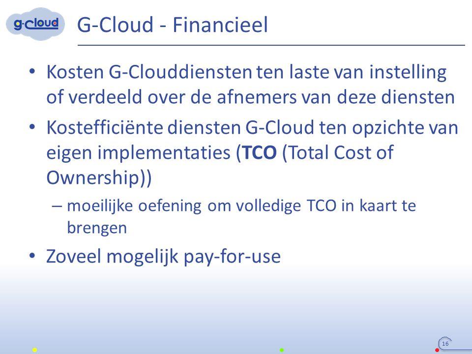 G-Cloud - Financieel Kosten G-Clouddiensten ten laste van instelling of verdeeld over de afnemers van deze diensten Kostefficiënte diensten G-Cloud te
