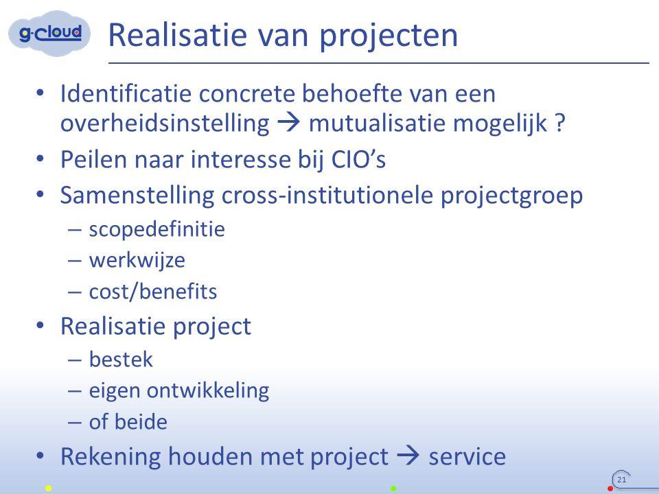Realisatie van projecten 21 Identificatie concrete behoefte van een overheidsinstelling  mutualisatie mogelijk ? Peilen naar interesse bij CIO's Same