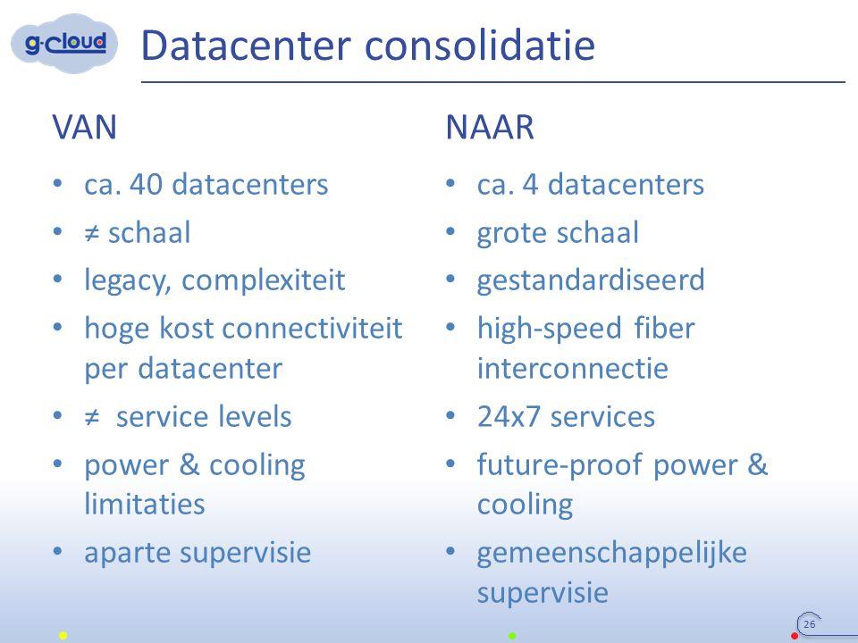 Datacenter consolidatie VAN ca. 40 datacenters ≠ schaal legacy, complexiteit hoge kost connectiviteit per datacenter ≠ service levels power & cooling