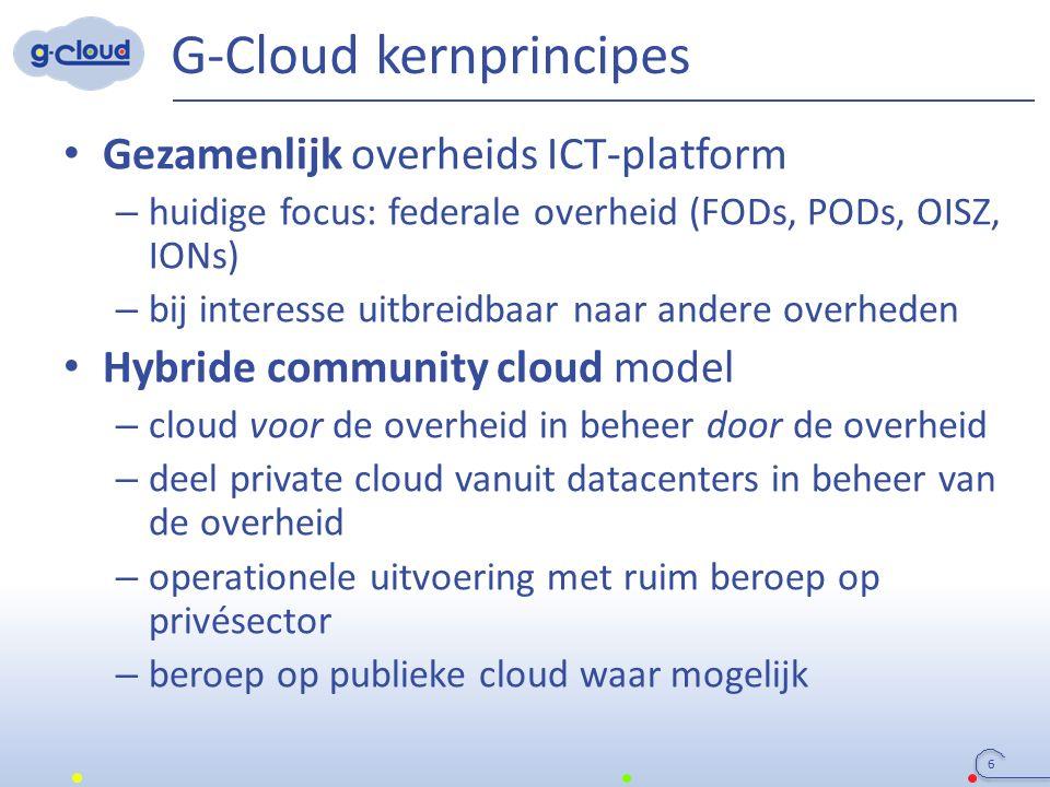 G-Cloud kernprincipes Gezamenlijk overheids ICT-platform – huidige focus: federale overheid (FODs, PODs, OISZ, IONs) – bij interesse uitbreidbaar naar