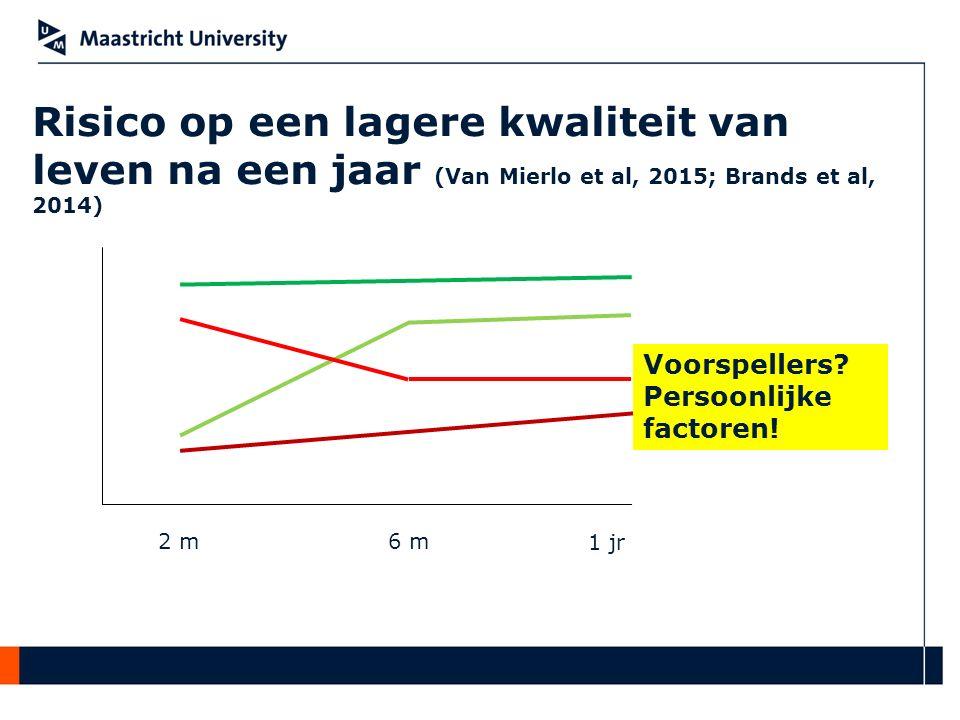 Risico op een lagere kwaliteit van leven na een jaar (Van Mierlo et al, 2015; Brands et al, 2014) 2 m6 m 1 jr Voorspellers? Persoonlijke factoren!
