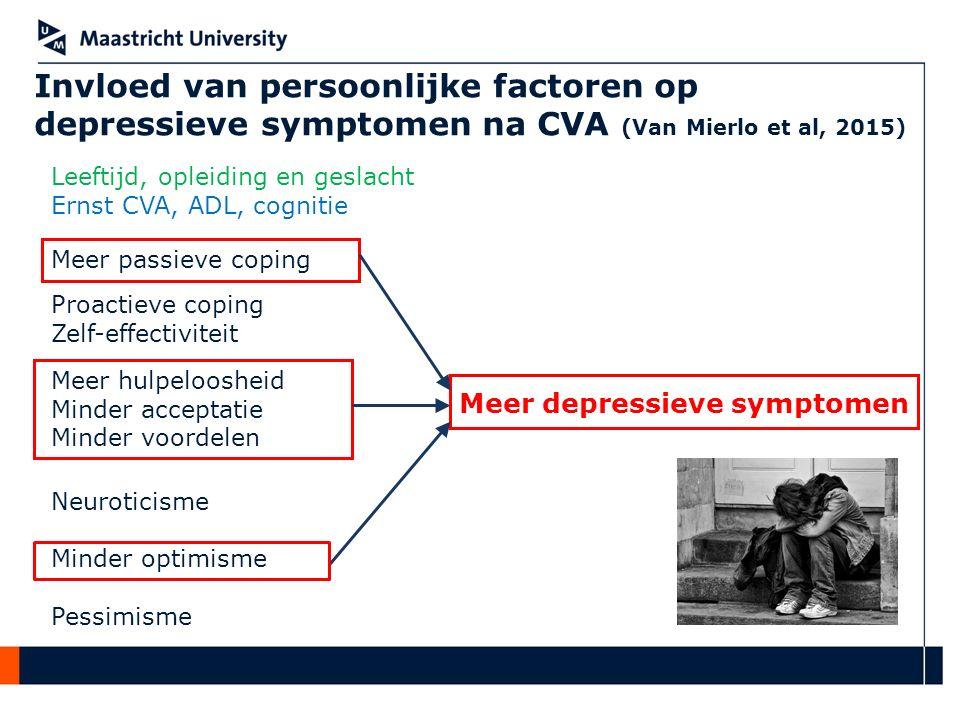 Invloed van persoonlijke factoren op depressieve symptomen na CVA (Van Mierlo et al, 2015) Meer passieve coping Meer hulpeloosheid Minder acceptatie M