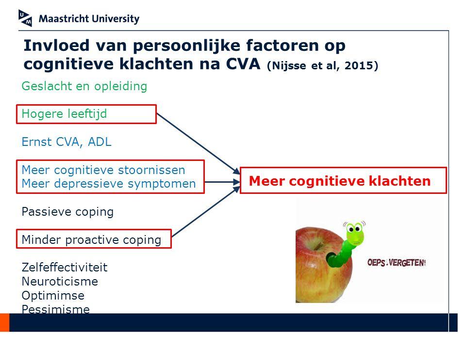 Invloed van persoonlijke factoren op cognitieve klachten na CVA (Nijsse et al, 2015) Meer cognitieve klachten Geslacht en opleiding Hogere leeftijd Er