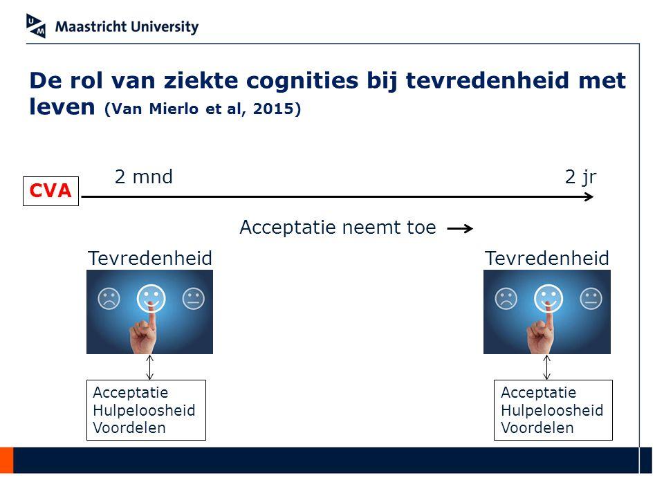 De rol van ziekte cognities bij tevredenheid met leven (Van Mierlo et al, 2015) CVA 2 mnd2 jr Acceptatie neemt toe Acceptatie Hulpeloosheid Voordelen