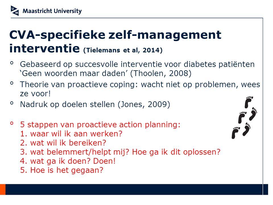 CVA-specifieke zelf-management interventie (Tielemans et al, 2014) °Gebaseerd op succesvolle interventie voor diabetes patiënten 'Geen woorden maar da