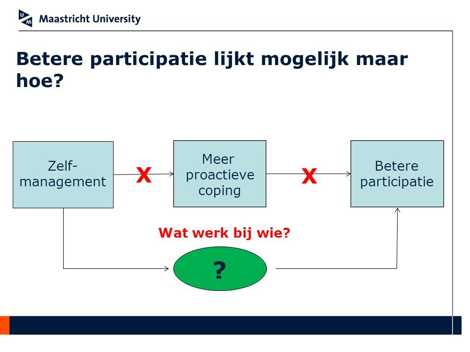Betere participatie lijkt mogelijk maar hoe? Zelf- management Meer proactieve coping Betere participatie X X ? Wat werk bij wie?