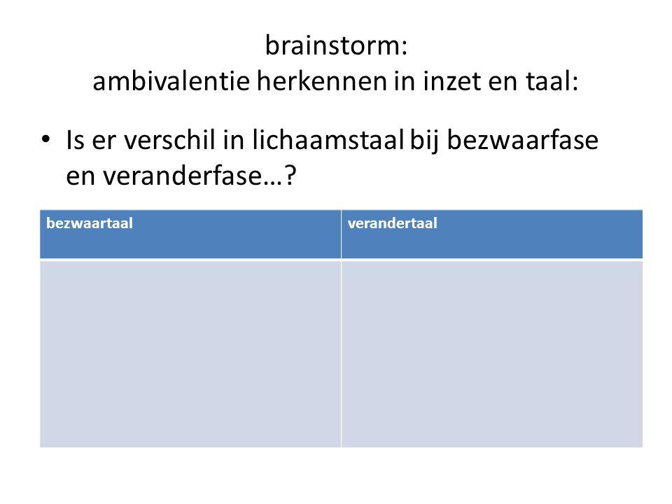brainstorm: ambivalentie herkennen in inzet en taal: Is er verschil in lichaamstaal bij bezwaarfase en veranderfase…? bezwaartaalverandertaal