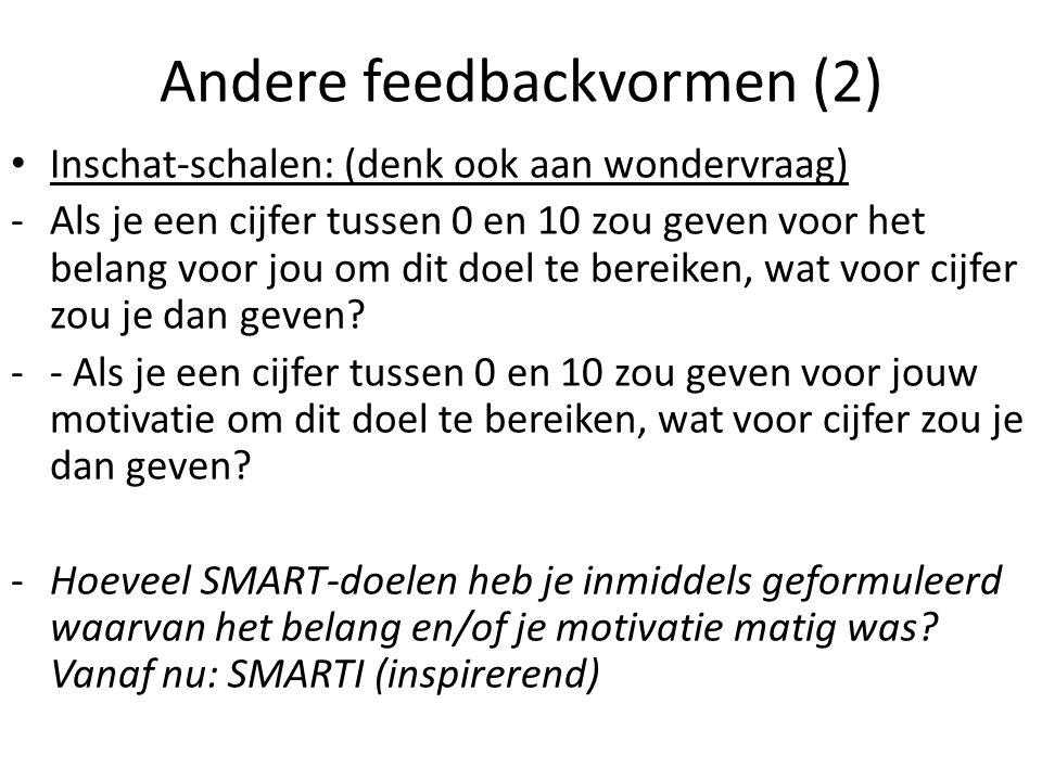 Andere feedbackvormen (2) Inschat-schalen: (denk ook aan wondervraag) -Als je een cijfer tussen 0 en 10 zou geven voor het belang voor jou om dit doel