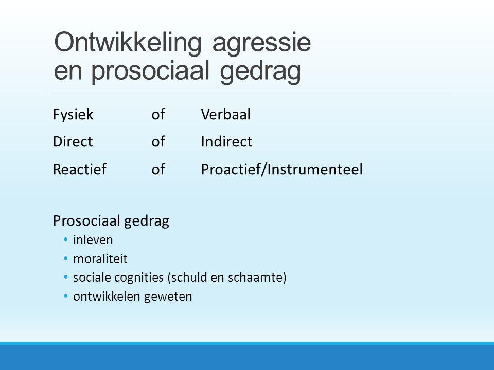 Ontwikkeling agressie en prosociaal gedrag FysiekofVerbaal DirectofIndirect ReactiefofProactief/Instrumenteel Prosociaal gedrag inleven moraliteit sociale cognities (schuld en schaamte) ontwikkelen geweten