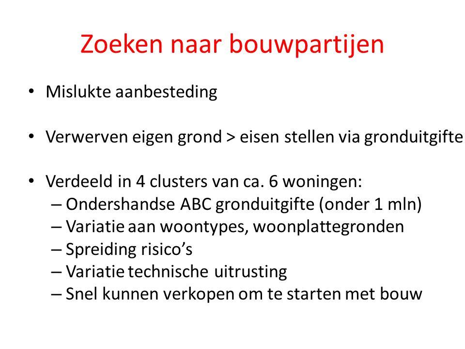 Zoeken naar bouwpartijen Mislukte aanbesteding Verwerven eigen grond > eisen stellen via gronduitgifte Verdeeld in 4 clusters van ca.