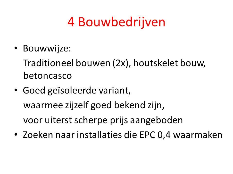 4 Bouwbedrijven Bouwwijze: Traditioneel bouwen (2x), houtskelet bouw, betoncasco Goed geïsoleerde variant, waarmee zijzelf goed bekend zijn, voor uiterst scherpe prijs aangeboden Zoeken naar installaties die EPC 0,4 waarmaken