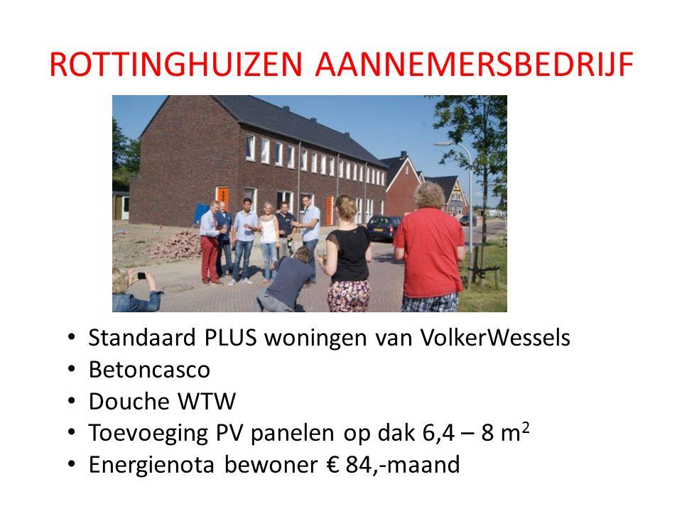 ROTTINGHUIZEN AANNEMERSBEDRIJF Standaard PLUS woningen van VolkerWessels Betoncasco Douche WTW Toevoeging PV panelen op dak 6,4 – 8 m 2 Energienota bewoner € 84,-maand