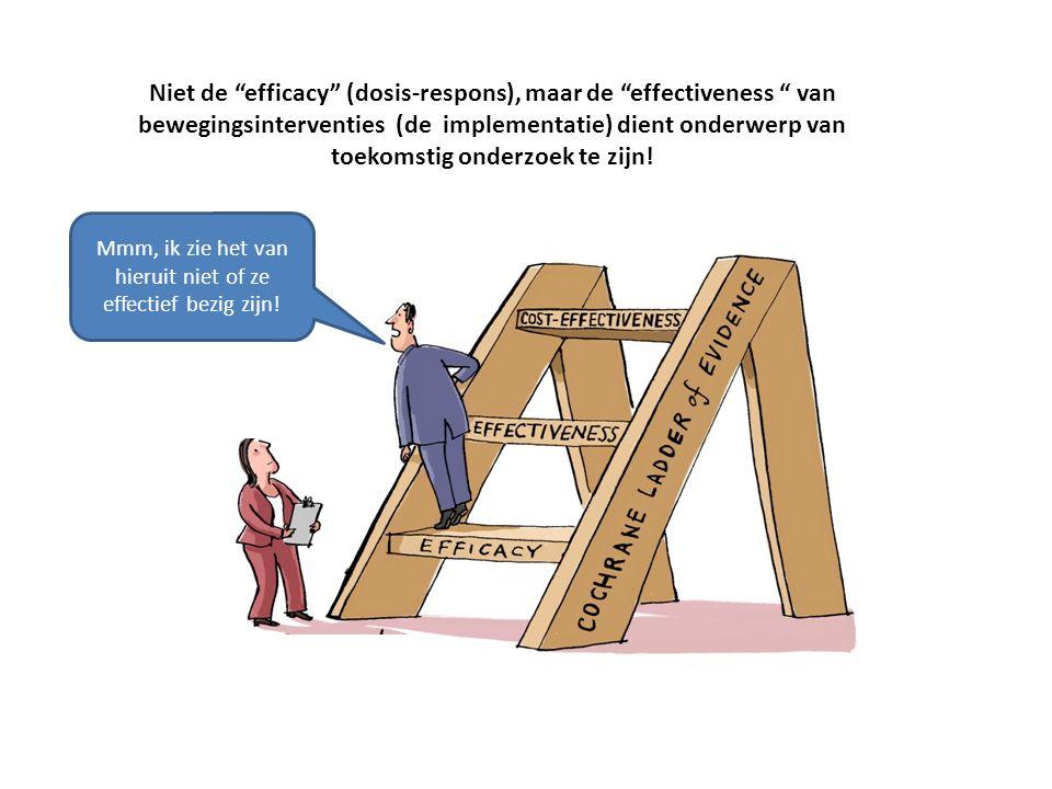 Niet de efficacy (dosis-respons), maar de effectiveness van bewegingsinterventies (de implementatie) dient onderwerp van toekomstig onderzoek te zijn.