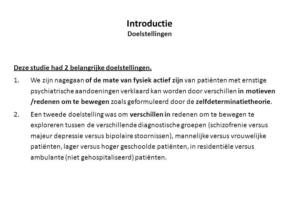 Deze studie had 2 belangrijke doelstellingen. 1.We zijn nagegaan of de mate van fysiek actief zijn van patiënten met ernstige psychiatrische aandoenin