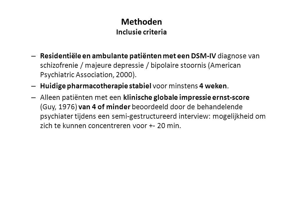 Methoden Inclusie criteria – Residentiële en ambulante patiënten met een DSM-IV diagnose van schizofrenie / majeure depressie / bipolaire stoornis (Am
