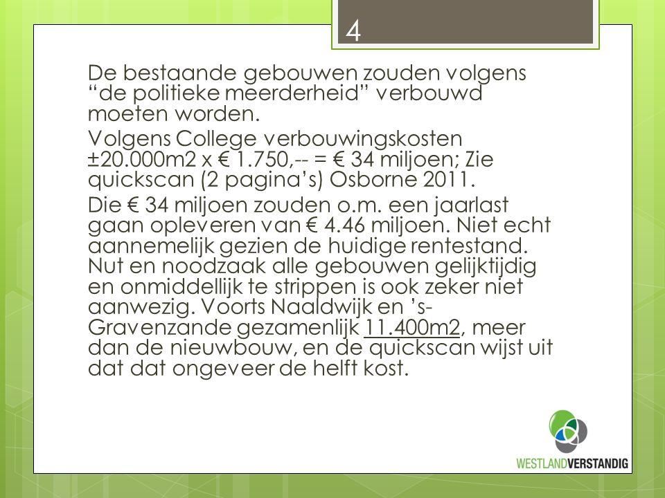Er is nog meer De jaarlijkse exploitatiekosten voor de nieuwbouw voor de twee nieuwe halve gemeentehuizen: € 3.5 miljoen.